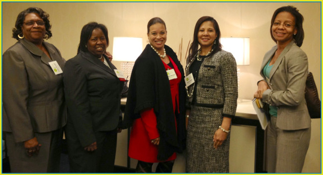 Dr. Linda Hayden (left) and colleagues at the 2013 National Science Foundation Gender Summit. Pictured, from left to right: Hayden, Loretta Moore, Cynthia Winston, Sonya Smith, Kelly Mack. Photo: courtesy NSF