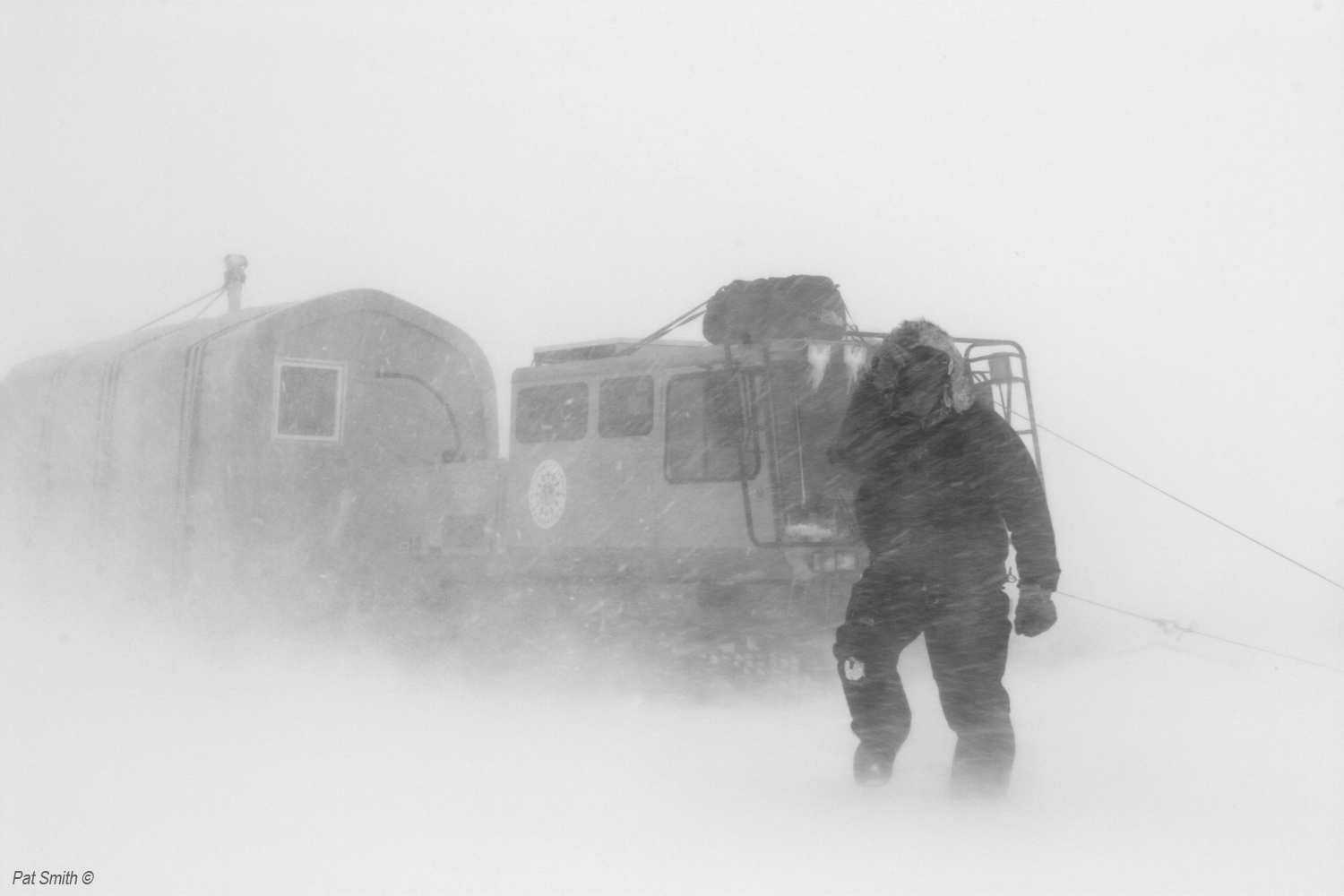 This image, taken in June 2008 in Greenland, illustrates the severity of some Arctic storms. The GrIT storm recently encountered one white-out day that temporarily hampered forward progress. Photo: Pat Smith