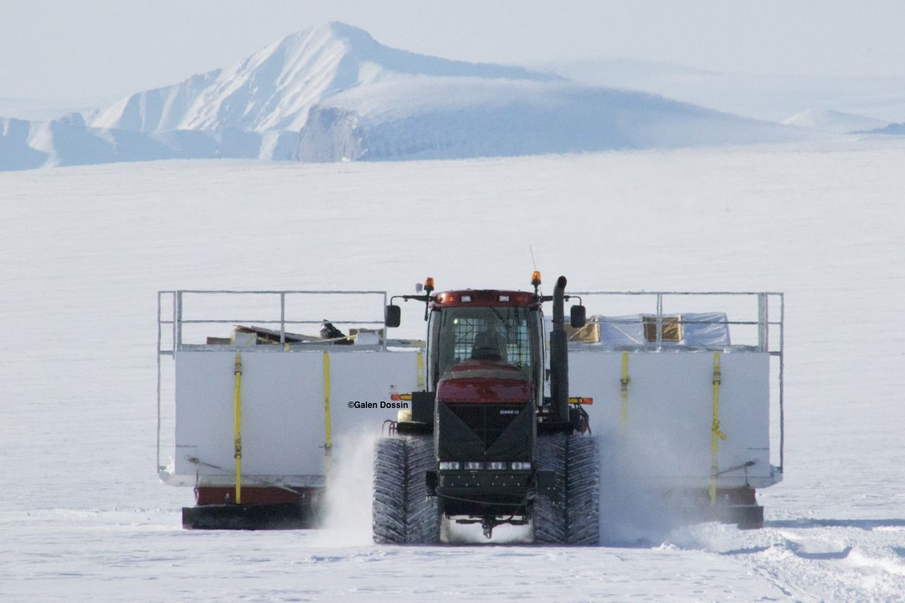 A 2012 photo of on of the Case Quad Trac tractors pulling cargo in the crevasse zone. Photo: Galen Dossin