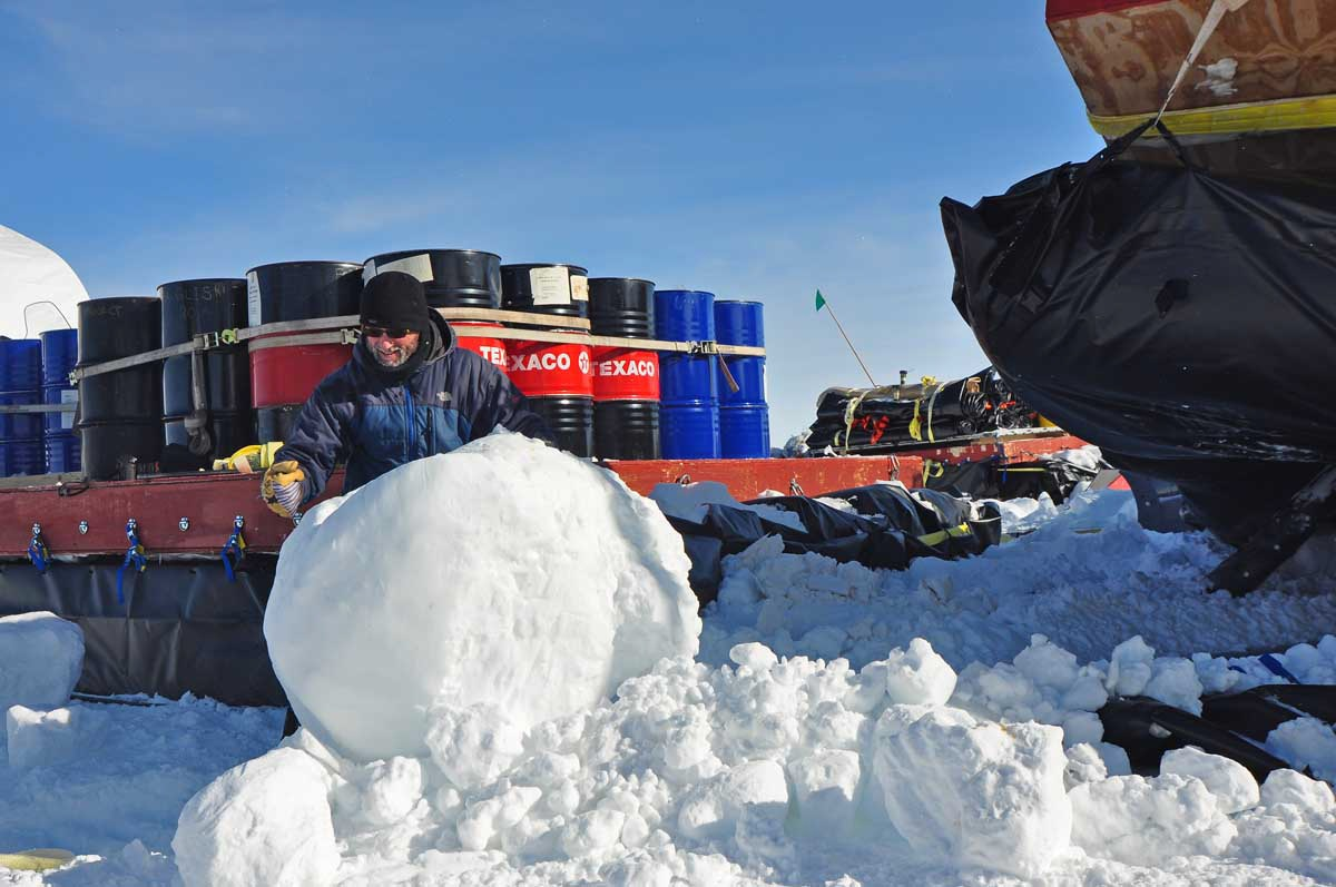 Anyone up for a snowball fight? The GrIT crew had to disentangle these giant-sized snowballs from underneath the ARCS pouches.