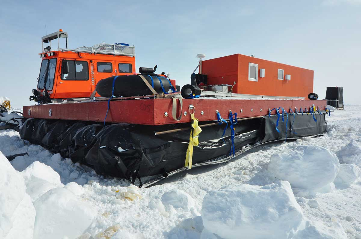 The sleds were towing with unusual difficulty, requiring some on-the-road reconfiguration.