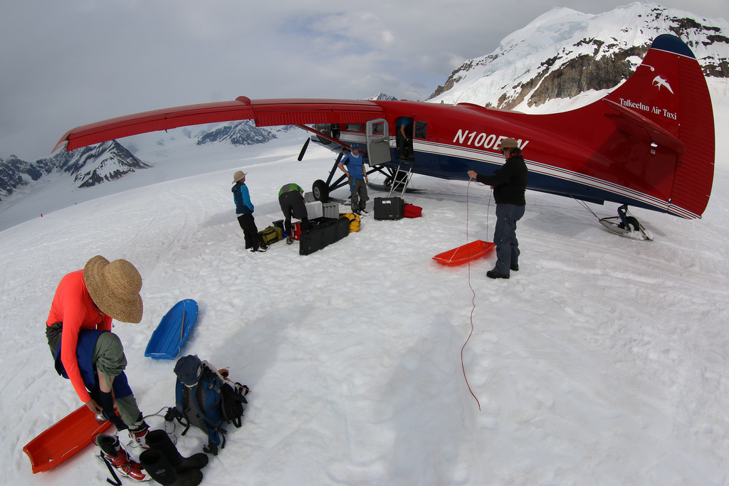 Abi Bradford, Noah Kreutz, Seth Campbell, Karl Kreutz, and Kate Tobin pack up the gear prior to departure.