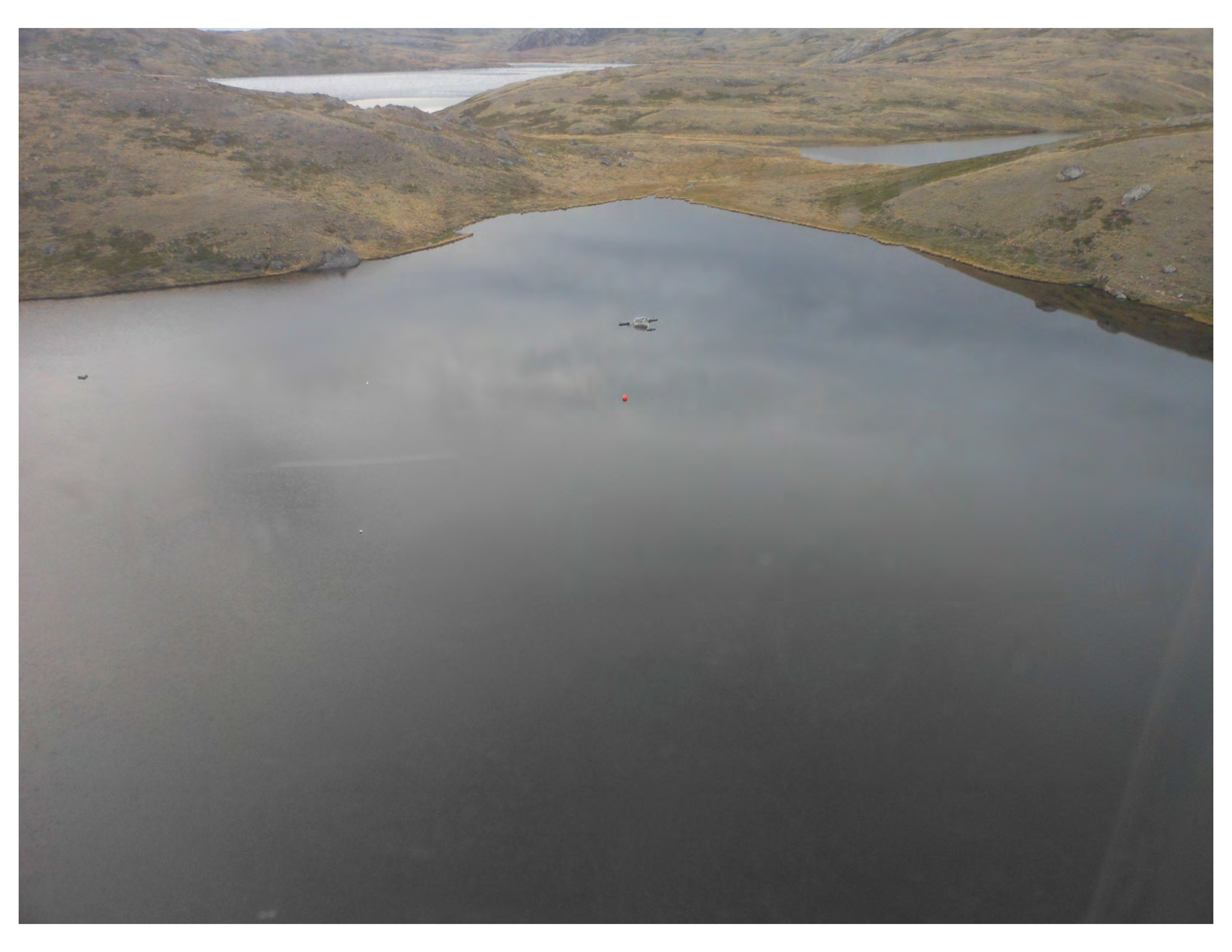An aerial view of one lake included in Soros's study. She is studying diatoms for insights into  environmental change in the Arctic.