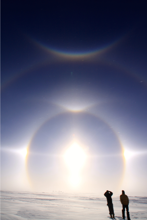 Some of the haloes seen over the Greenland Ice Sheet that Neely and his team hope to measure with the LiDAR. Credit: Ryan Neely