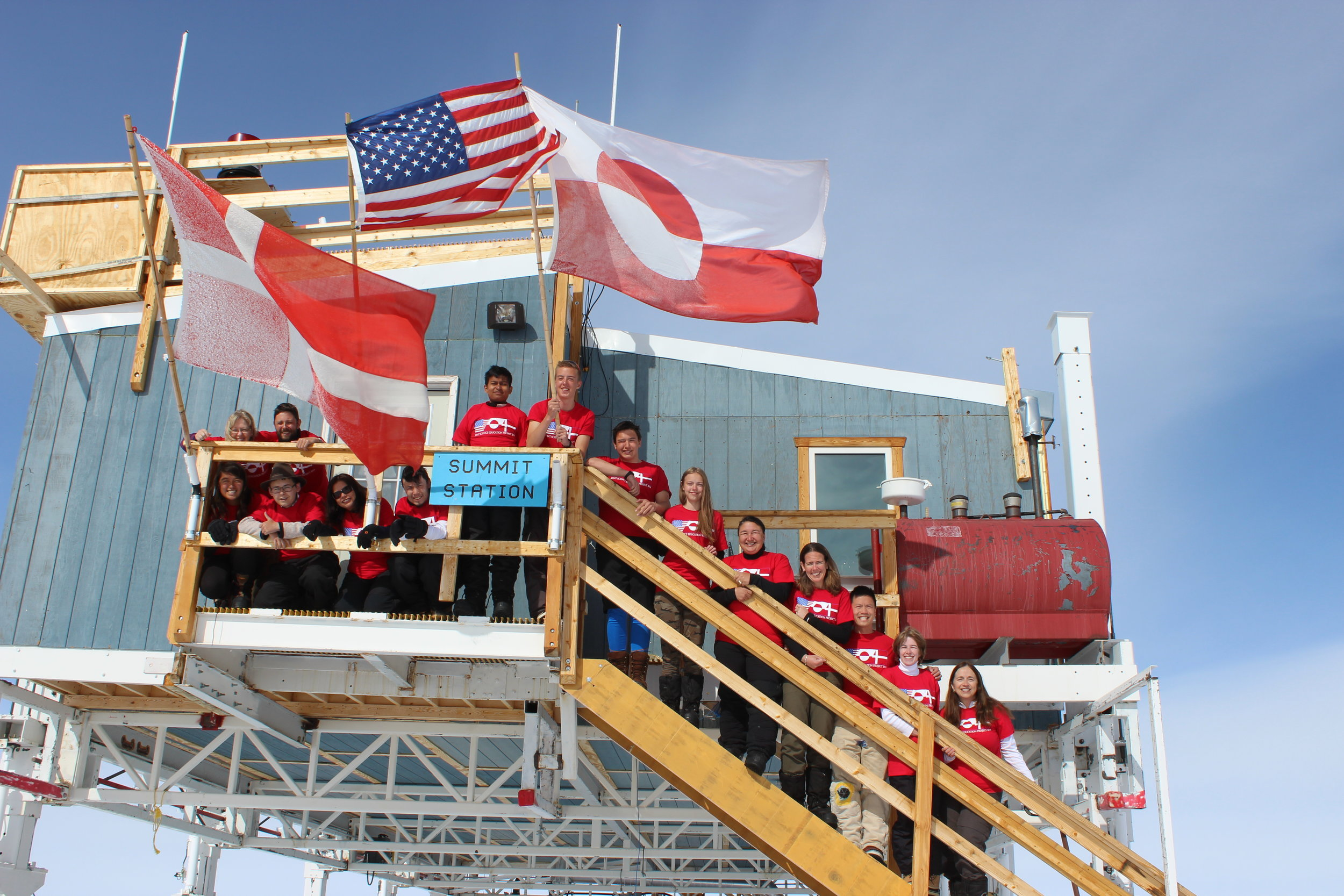 JSEP students and their teachers gather at Summit Station in Greenland. All photos: Lynn Foshee Reed