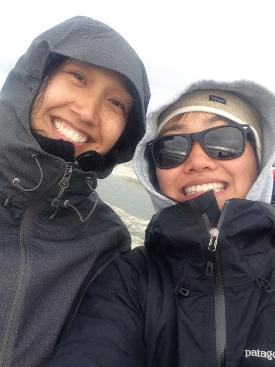 Researchers Sarah Huang (right) and Charlene Apok (left) are all smiles while collecting data. Photo: Sarah Huang