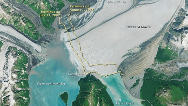 This image was captured on July 22, 2014, by the Operational Land Imager (OLI) on Landsat 8. Then, yellow lines were placed over the current image to show where the terminus, or lowest point on a glacier, was located in 1978 and 2002, demonstrating the glacier is creeping further into Disenchantment Bay. Photo: NASA Earth Observatory