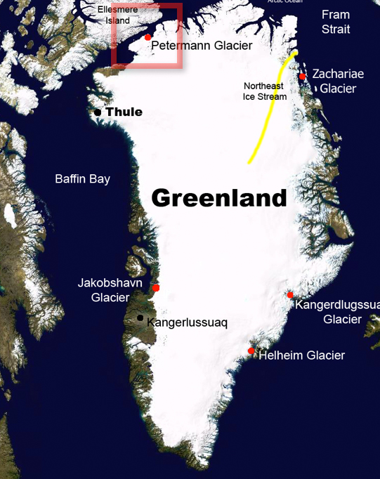 This map shows the approximate locations of the Petermann Glacier region and Thule Air Base. Credit: NASA