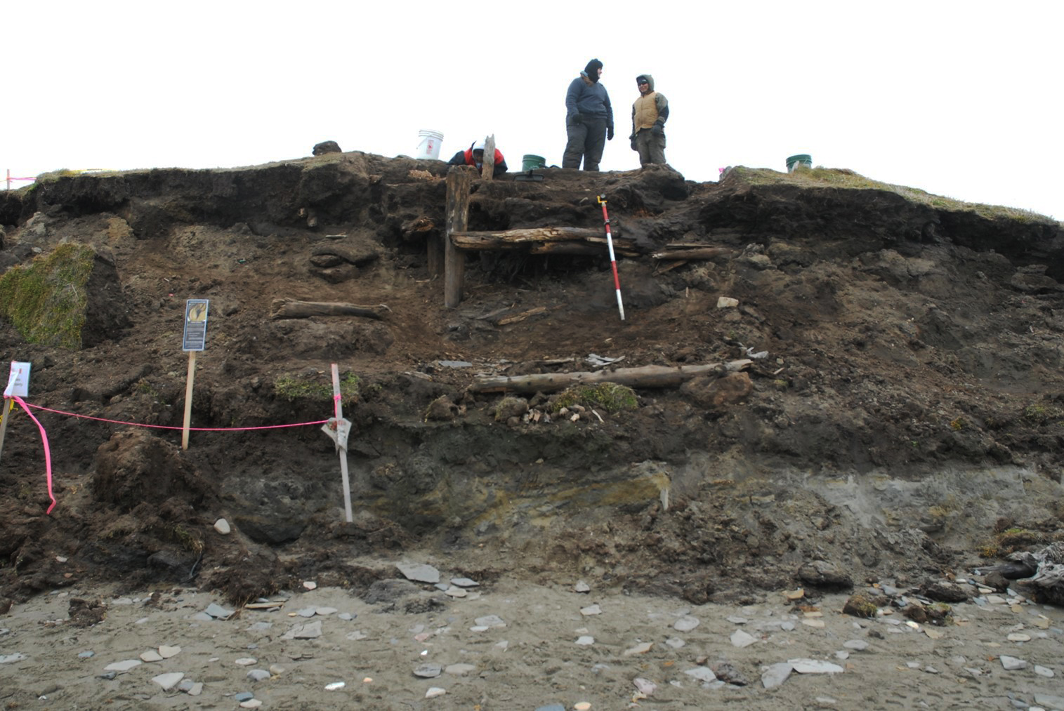 Researchers look over the eroded bluff where a storm in 2013 revealed an ancient sod house. Photo: Anne Jensen