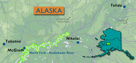 Map of Alaska showing rural villages of Nikolai and Telida Village, where Dr. Kholodov and Dr. Panda work with indigenous communities to conduct environmental measurements. Image credit: Telida Village Council.