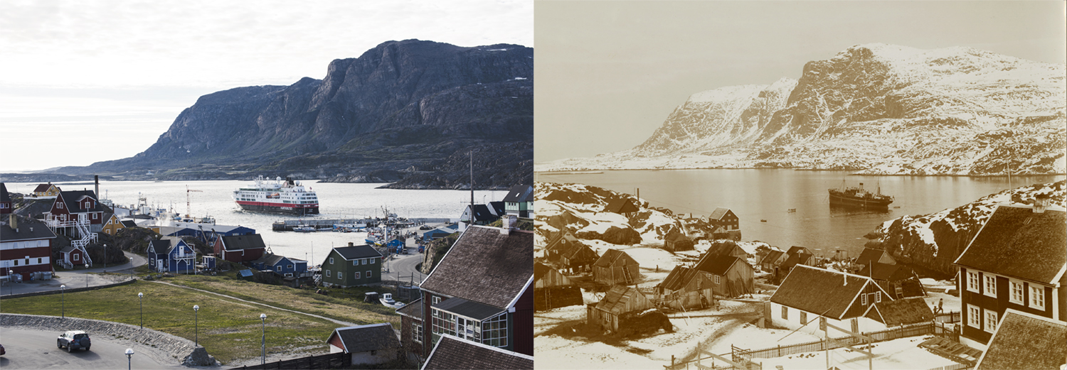 Sisimiut Harbor, Greenland, as photographed by Denis Defibaugh, left, and Rockwell Kent in the 1930s (courtesy Plattsburgh State Art Museum, SUNY Plattsburgh, USA, Rockwell Kent Collection, bequest of Sally Kent Gorton. All rights reserved.).