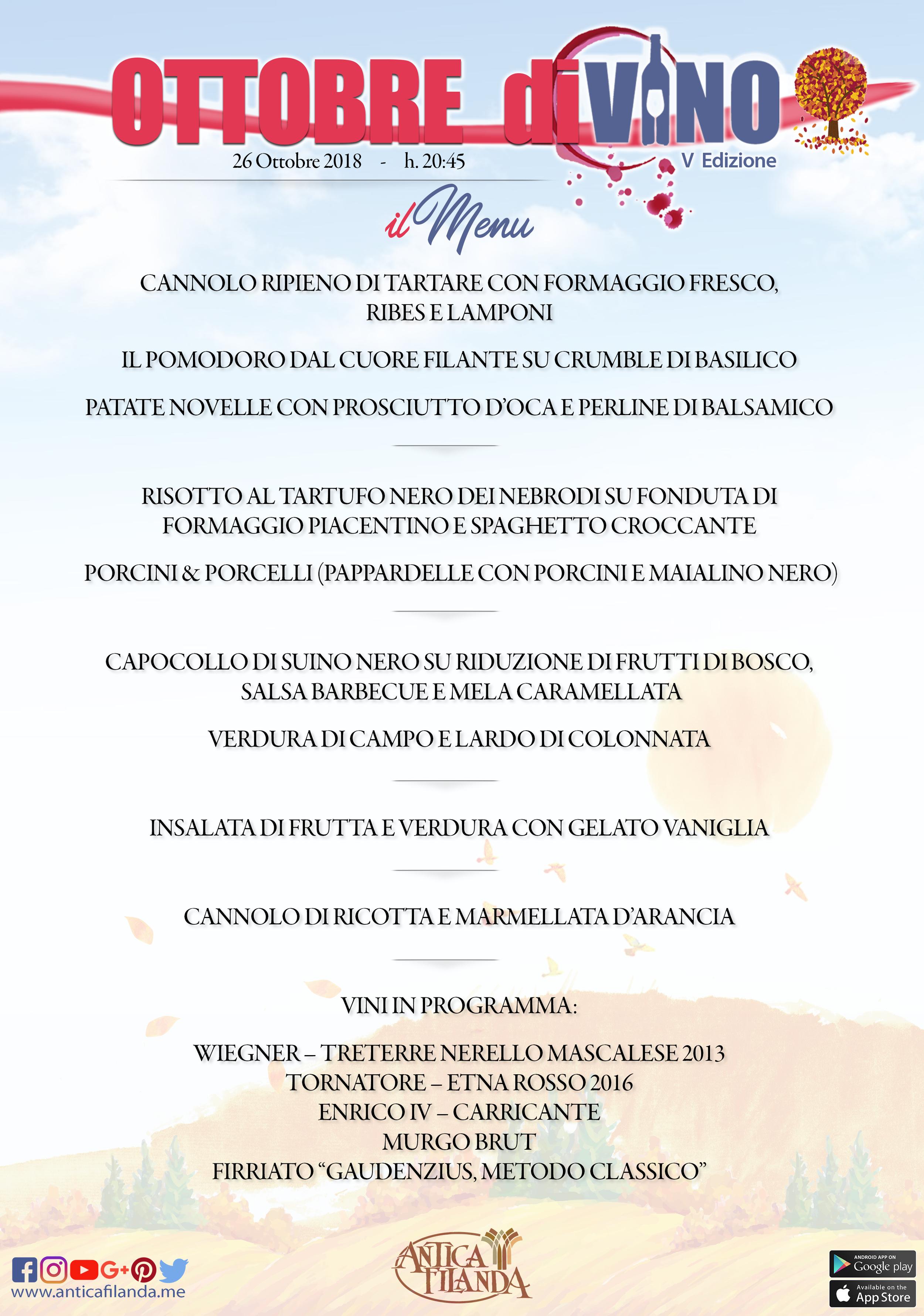 menu ottobre divino 5 edizione