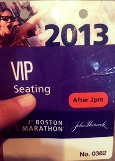 This is my pass to wait for Jeff in the bleachers the day of the marathon. I keep it as a reminder of how lucky I was to be on the other side of the street that day.