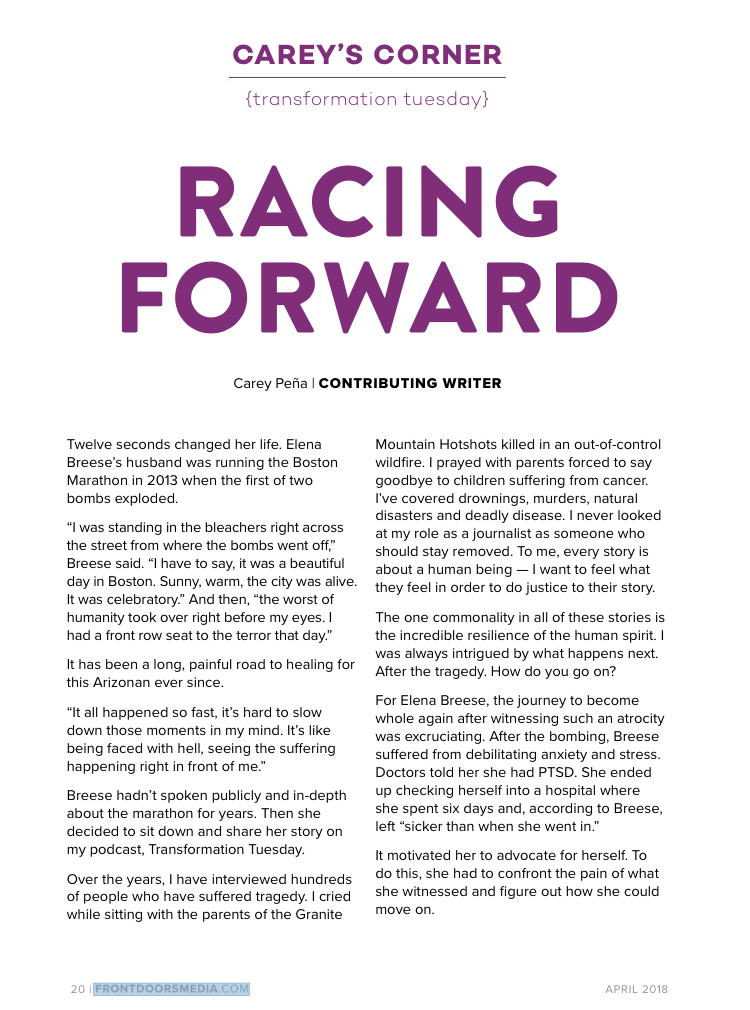 My story was recently featured Frontdoors April 2018 issue. -
