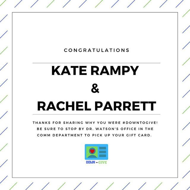 Congratulations @k8.gr and @rachelparrett for being our social media winners! Thanks for sharing why you're #DownToGive!
