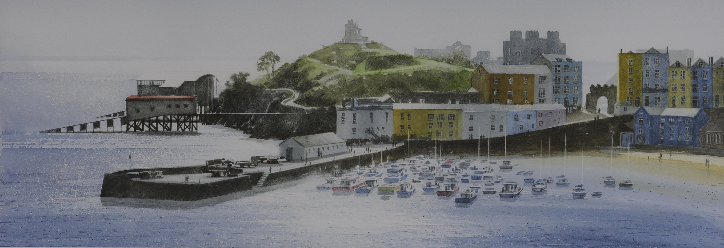 Bright Day, Tenby Harbour 21 x 7 in £75