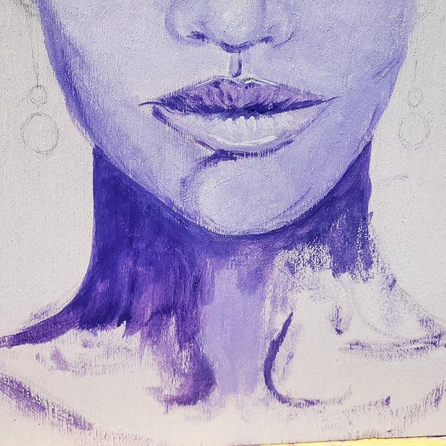 I'm really digging #purple lately, so I thought I'd ride that wave while working on my latest #portrait. Blocking in some color before refining the details has made me remember many of the reasons why I loved painting with oils back in the day. I miss the blending capabilities of oil paints and am thinking the best way to achieve similar shading, depth and realism will be to make my #acrylic based portraits mixed media. I'm thinking of using colored pastels to define and soften the edges... . . Do you work in #portraiture? What do you prefer to create them in? I'd love to know why as well, if your interested in sharing. :)