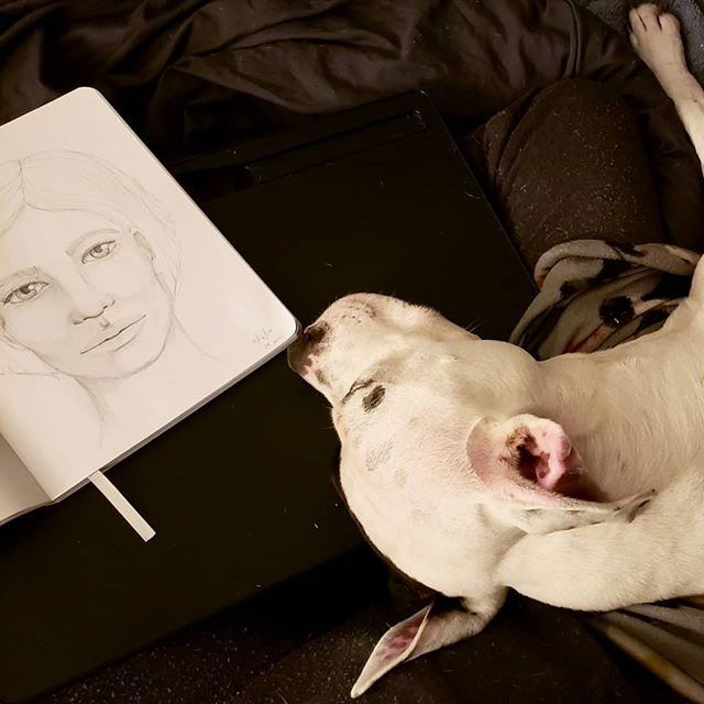This is what #sketching in bed looks like... What you can't see pictured is the second puppy who is little spoon to Jack. . . I love how much my babies love to cuddle with me. It's nice that I get to practice art skills while being so close to my babies --- so few things bring me greater joy. . . Pulled out the #tortillon (#blendingstump) for some easier blending tonight; pretty sure it'll become a new staple.