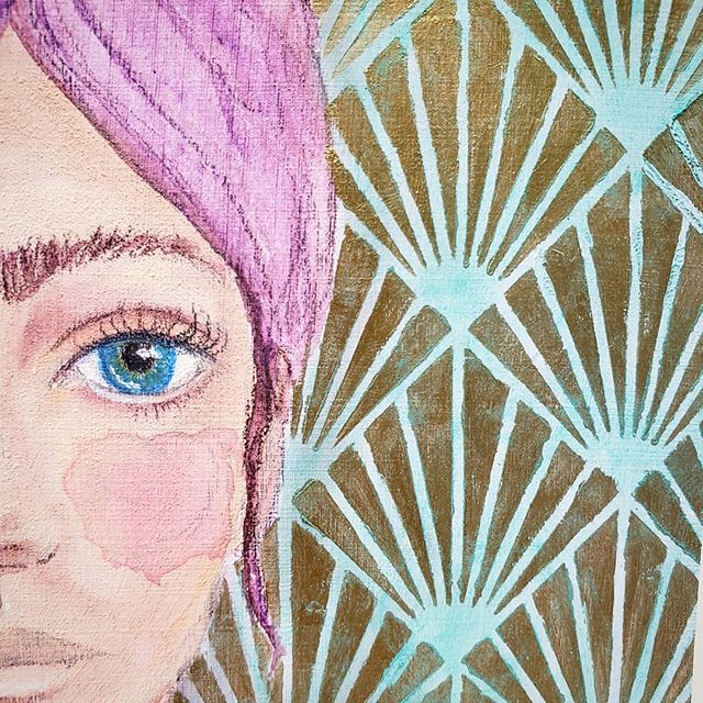 Sneaky Peaky...I really wish the picture showed off the gold shimmer of the luxurious #GoldenAcrylic #Iridescentgold. Because against the #sennelier #teal #softpastel, it's really lovely. . . I realized after I finished this #mixedmedia #portrait that she reminded me of Cara Delevigne in Carnival Row. In fact, I think all of the women I've done in the past few days were insured by that show! (If you haven't watched it yet, I highly recommend it!!!!)