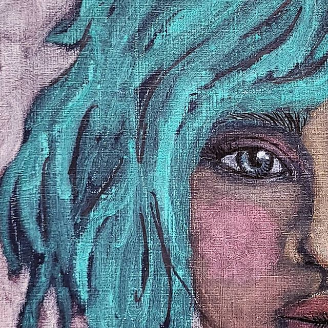 "17/100 . . I don't know about anyone else, but I am really feeling the #teal hair lately. It's not an easy color to maintain in real life, but it is so pretty!!!!! . . Here is another lady definitely inspired (subconsciously) by the show @carnivalrow (again, if you haven't watched it and you like fantasy, check it out). . . This piece is #mixedmedia of #acrylic, #softpastel, #ink, #watercolorpencils, and #charcoal pencils on a cradled wood board. This is a close-up of a 6×6"" piece. She still needs a name...any suggestions???"
