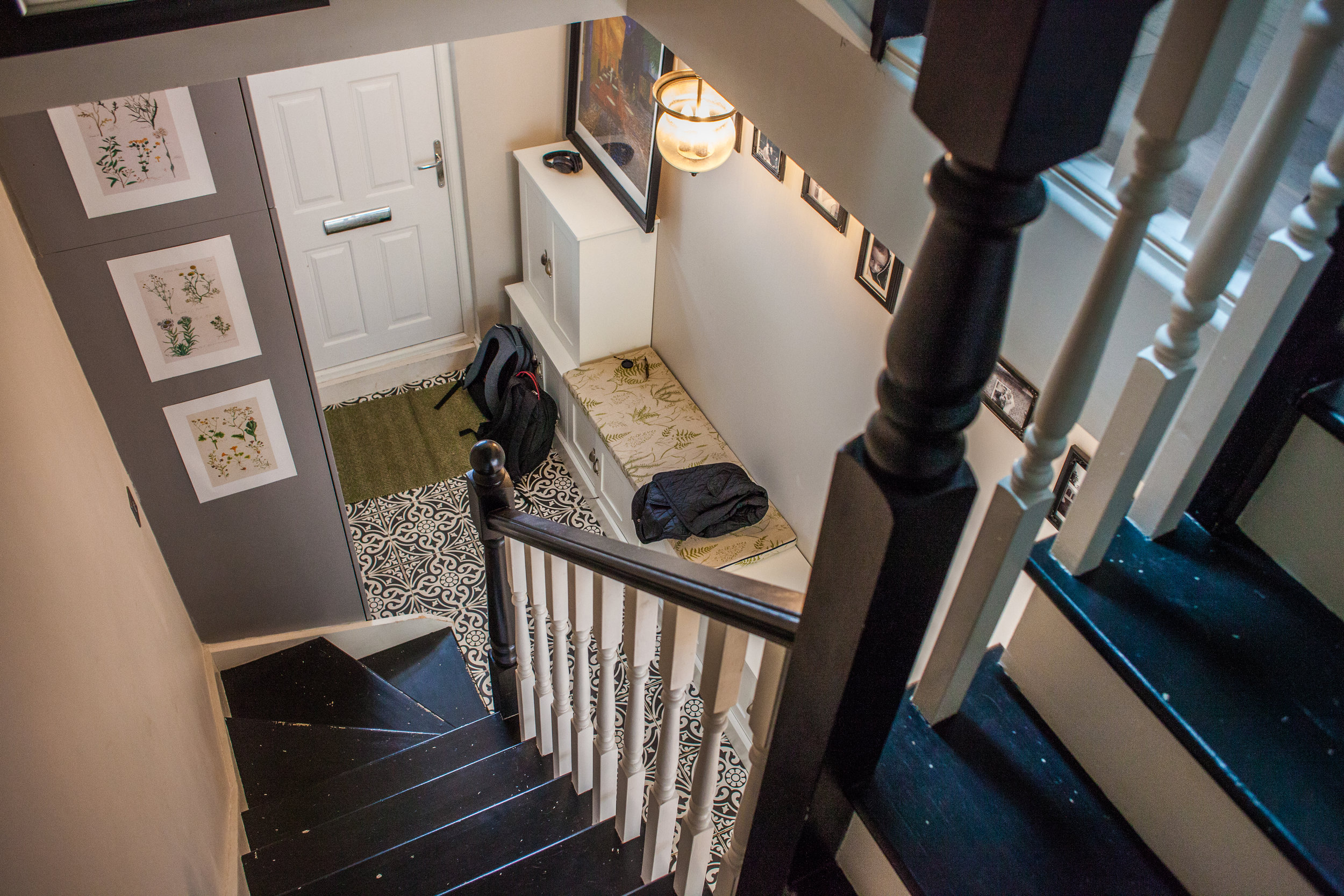 - The stunning new inviting entrance, equipped with plenty of storage, beautiful patterned floor tiles and a stripped back painted staircase.