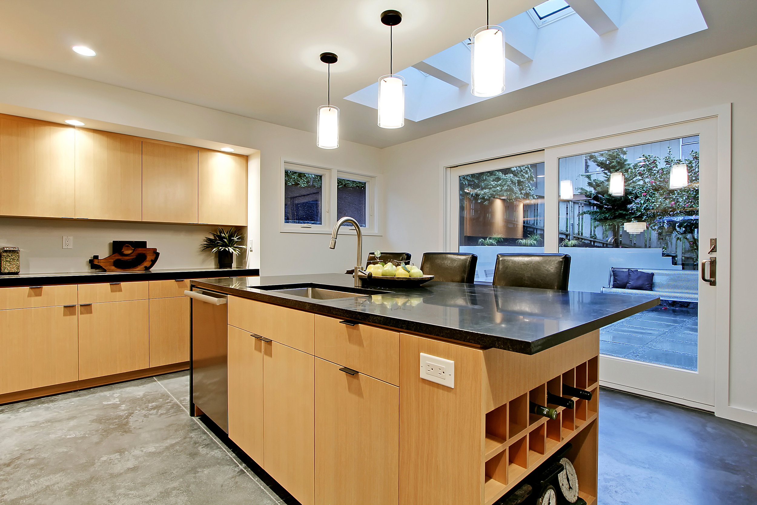 Skylights Above Kitchen Island Seating Area