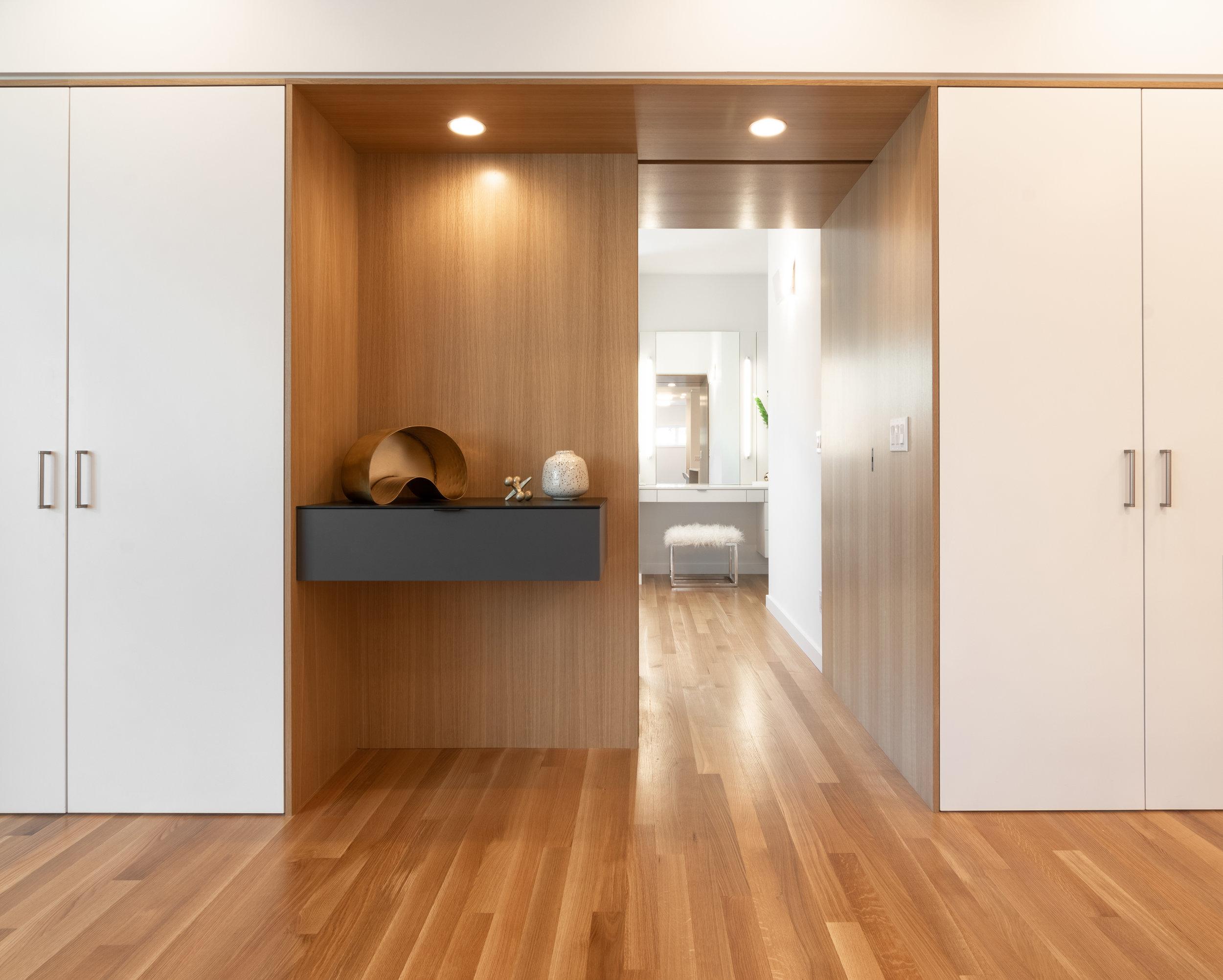 Oak Portal Pocket Door open