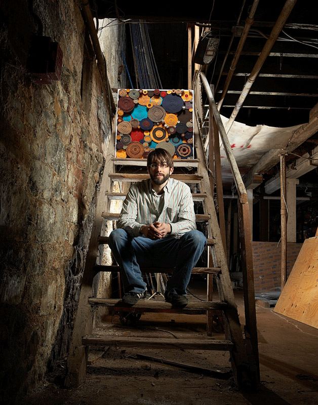 Ian Trask on the Invisible Dog stairway.