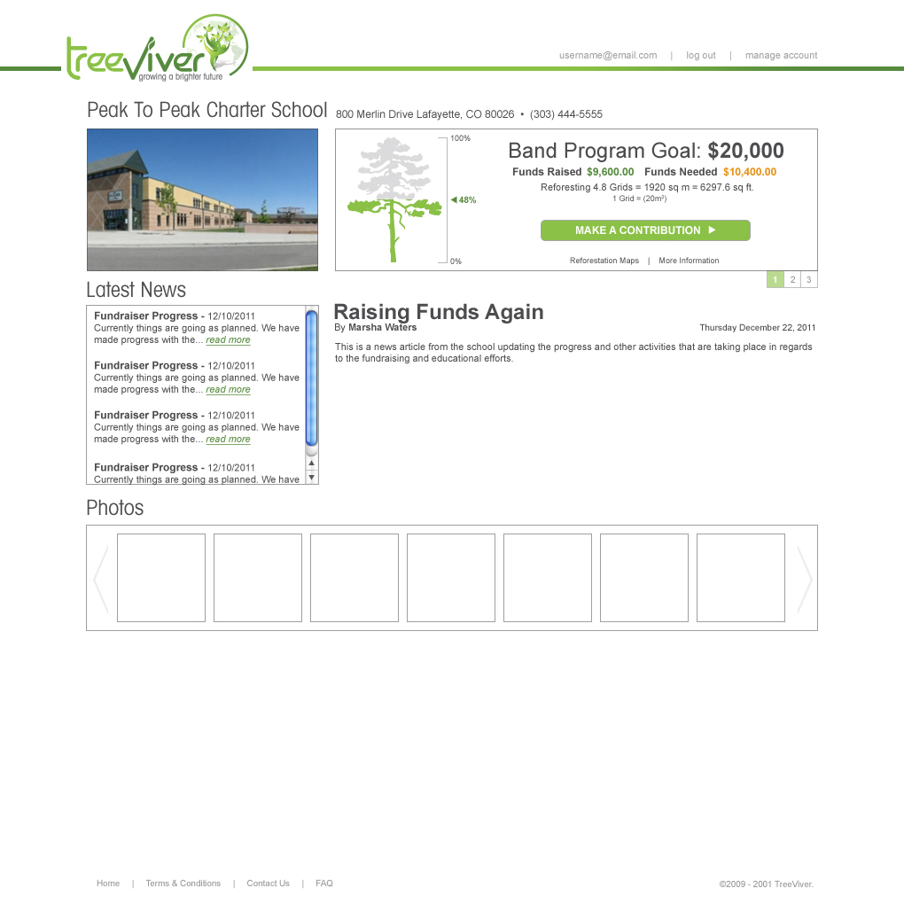 TreeViver - Custom School Page