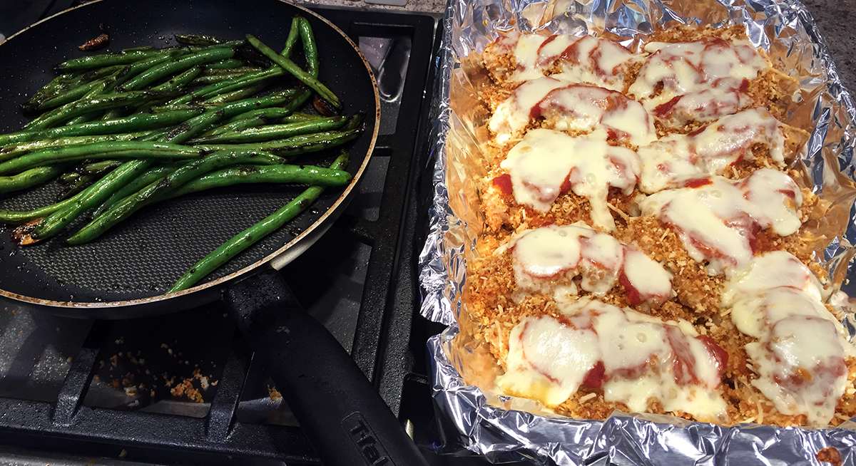 asian green beans and chicken parmesan