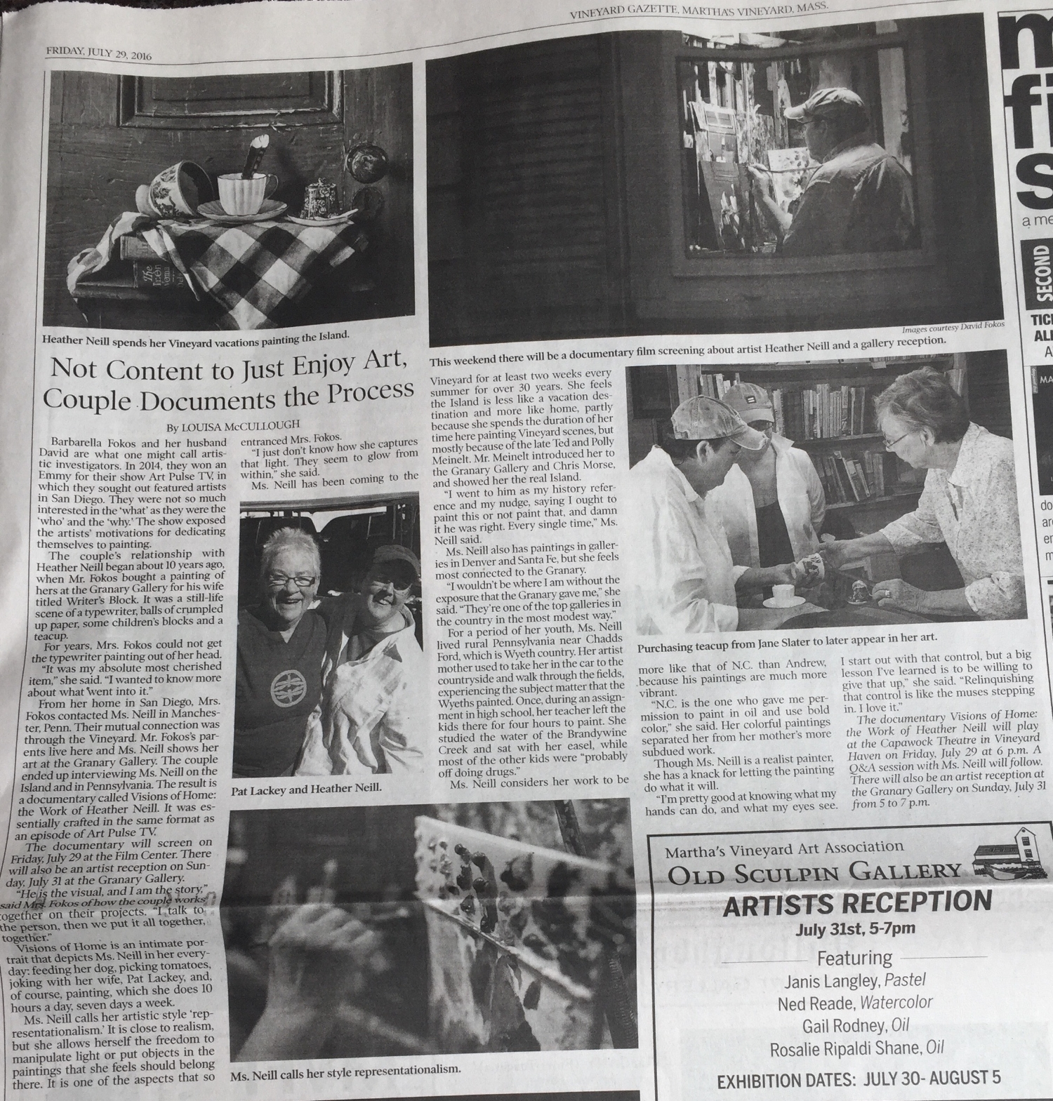 A full page write-up about the making of this film in the Vineyard Gazette.