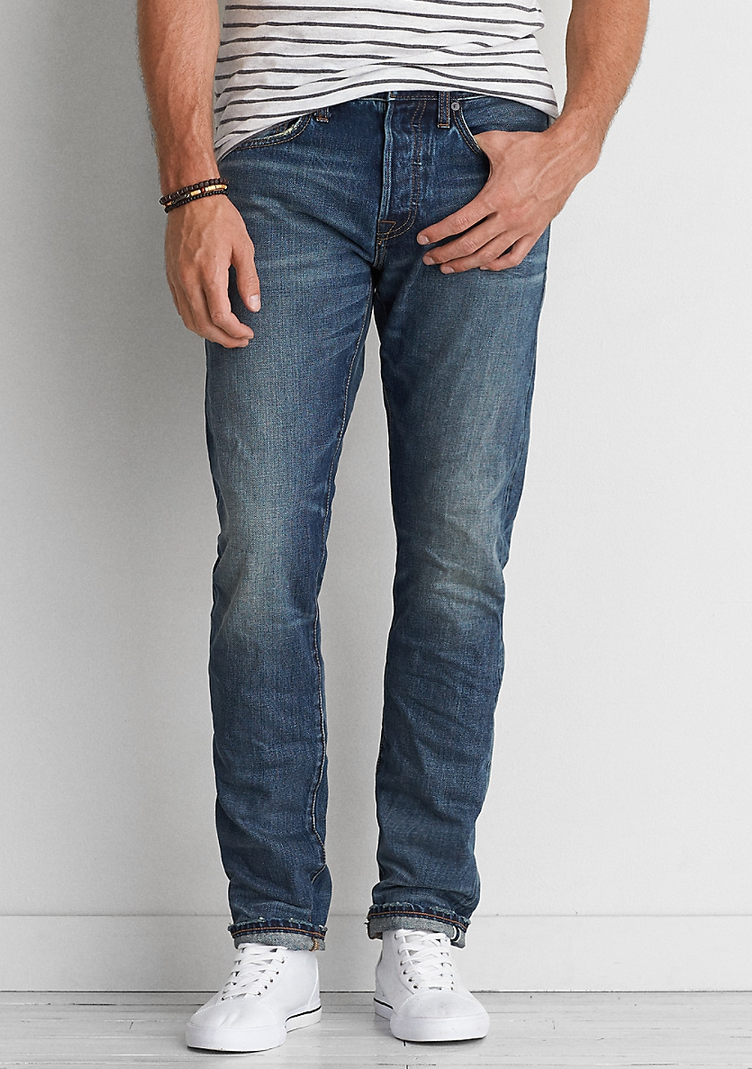 Slim Selvedge Jean - $79.95 American Eagle (Medium Vintage Wash)