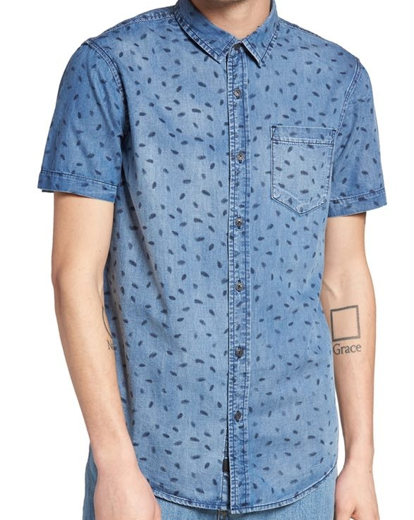 Globe Printed Denim Shirt - $64.95 Nordstrom