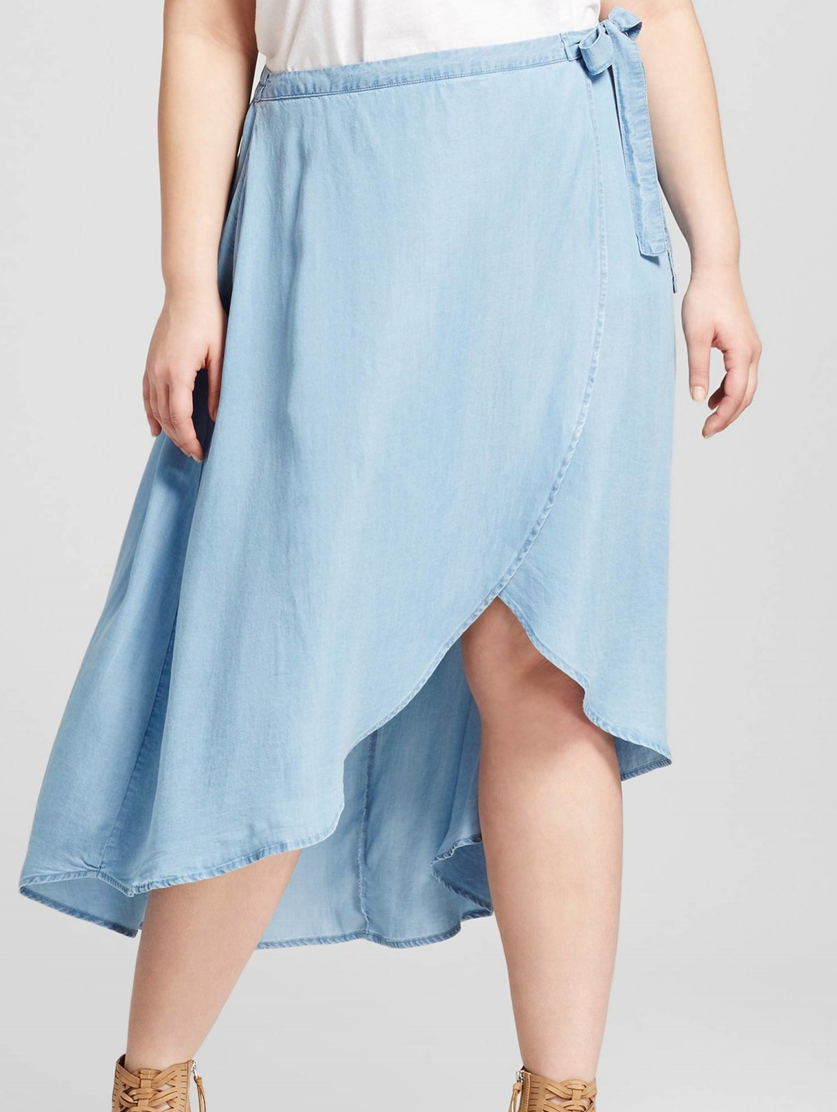 '3Hearts' Chmbray Wrap Skirt in Lyocell - $26.99 Target