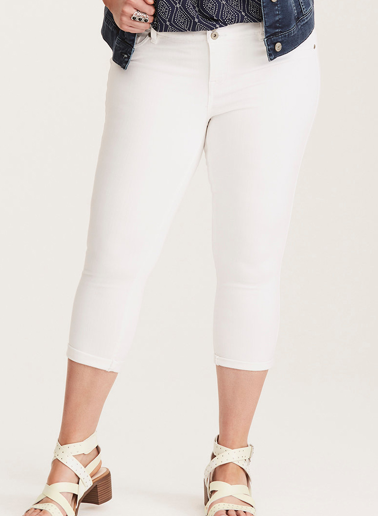 Cropped Jegging in White Denim - $54.90 Torrid (has a 3-button waistband)