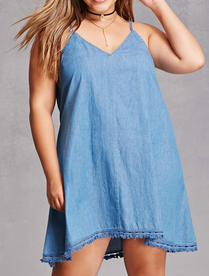 Denim Cami Dress - $38 Forever21 (Has a crochet/fringe hem)