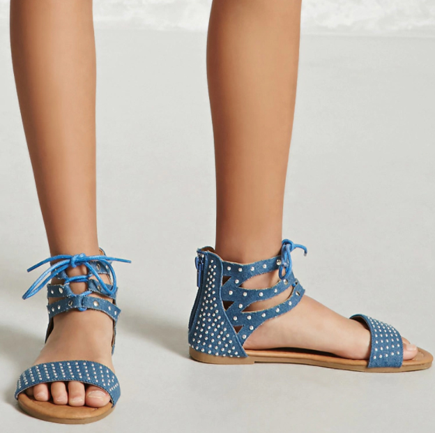 Studded Denim Sandals - $18 Forever21