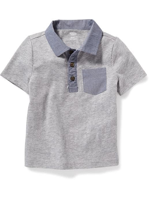 Chambray trim polo - $14.94 Old Navy