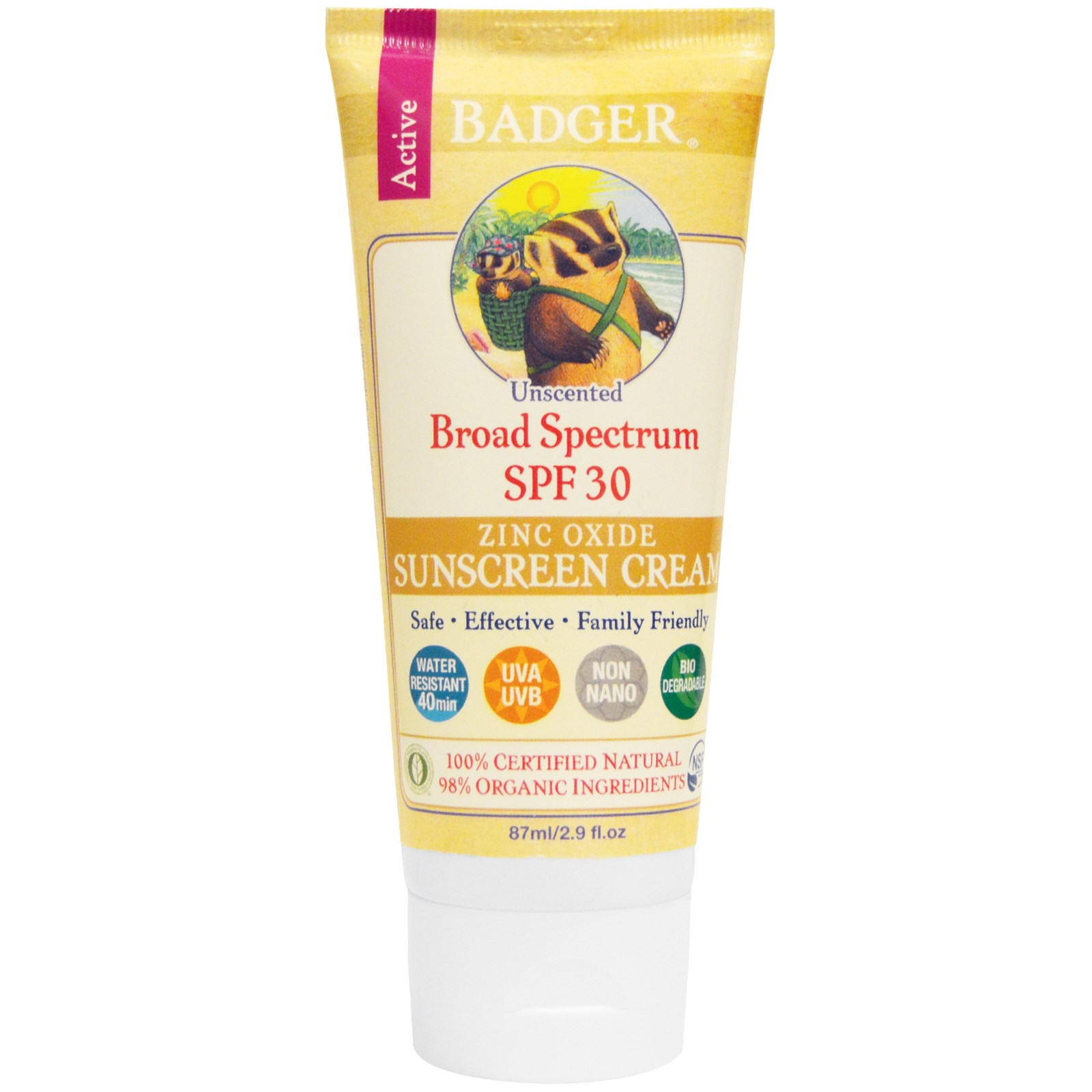 Badger Sunscreen Cream, Unscented, SPF 30
