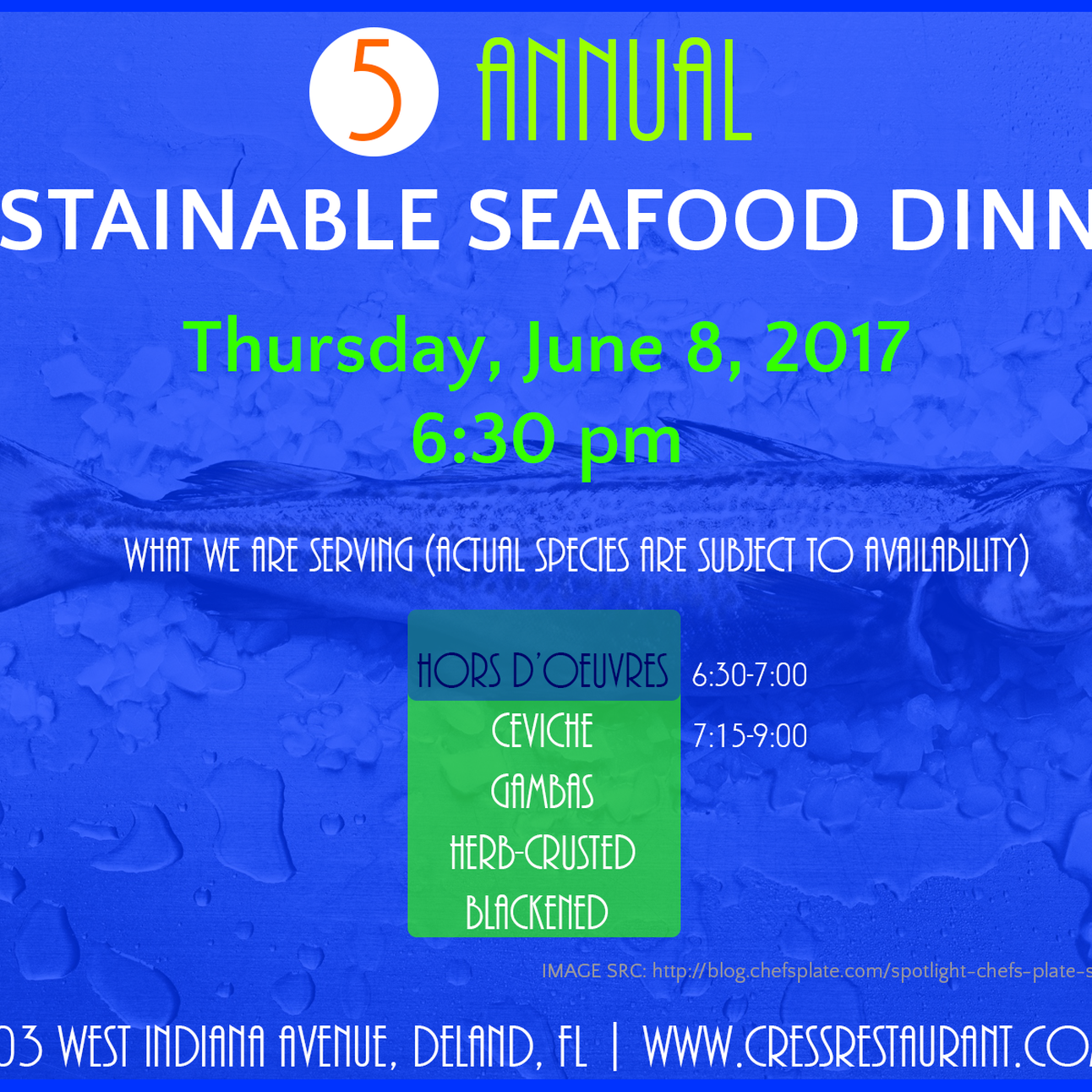 5th Annual Sustainable Multi-Course Seafood Dinner at Cress Restaurant in Deland- June 8 @ 6:30pm