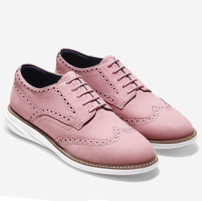 These  GrandEvolution wingtips  from Cole Haan are pretty in pink and next-level in comfort technology, made softer under the heel & firm in the forefoot. $200