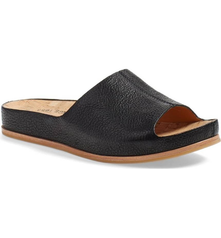 Fall runways were all about mules- why sacrifice comfort for style? This  'Tutsi' Slide from Kork-Ease  has a cushioned footbed for miles of walking. $134