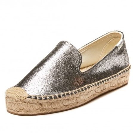 In a versatile metallic silver, this  metallic platform smoking slipper  from Saludos lets you adventure beautifully. Make sure to pack your silver accessories! $119