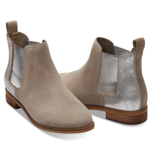 The ideal Fall travel bootie: neutral, metallic, cute,low-heeled. These suede 'Ella' booties come in 4 colors & are made for the discerning traveler. $119