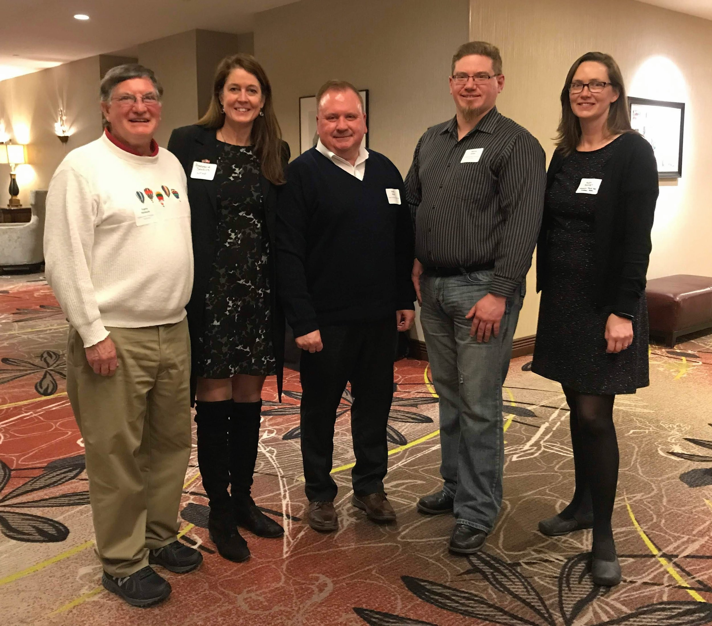 Board Members Gene Hackbarth, Annemarie Sawkins, Randy Glysch, Marcus Zettler, and Alexandra Ramsey attend the 2019 Annual WAHPC Conference in Oshkosh, WI.