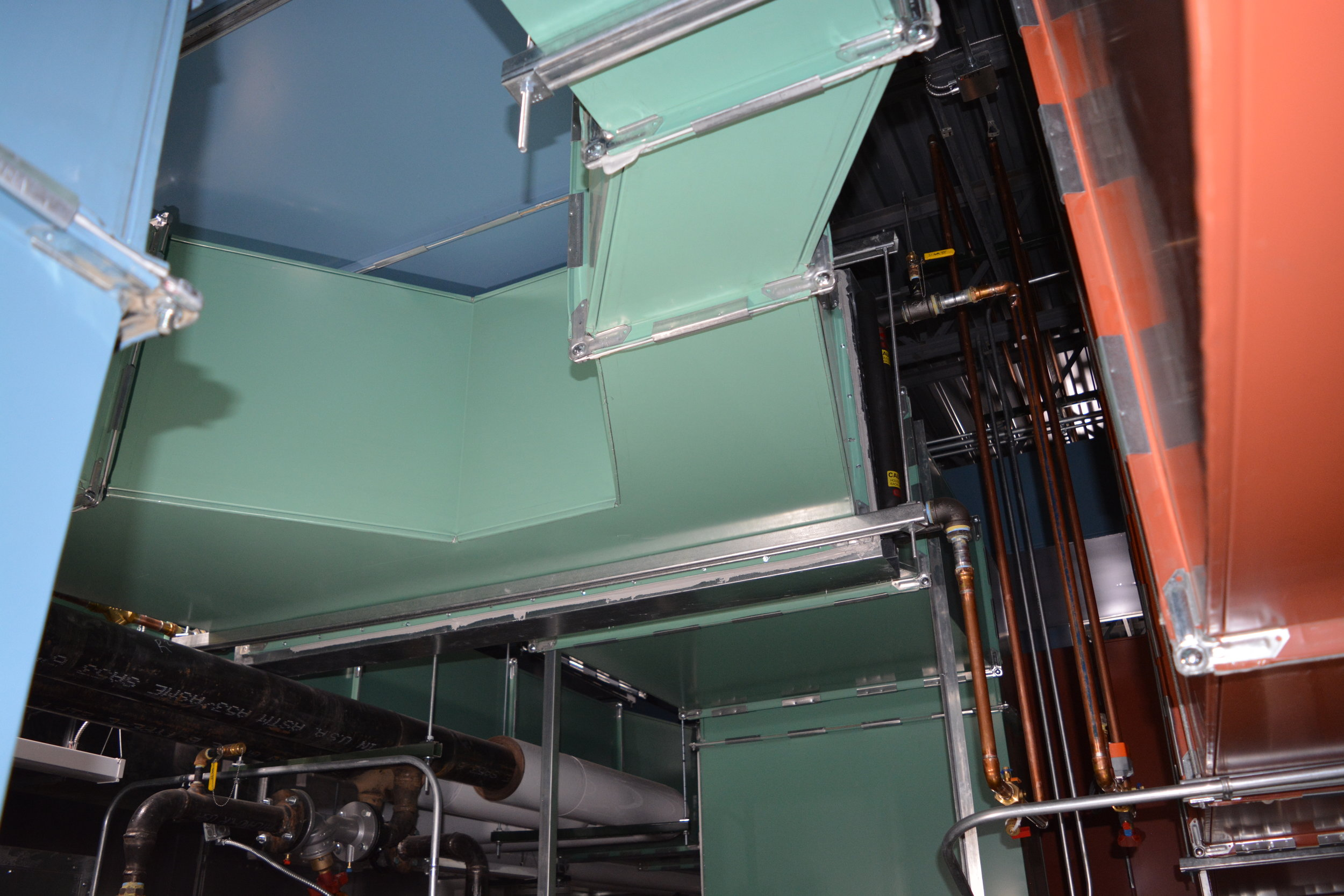 With the use of Color in the Mechanical Room, it makes for a clean understanding of the system.
