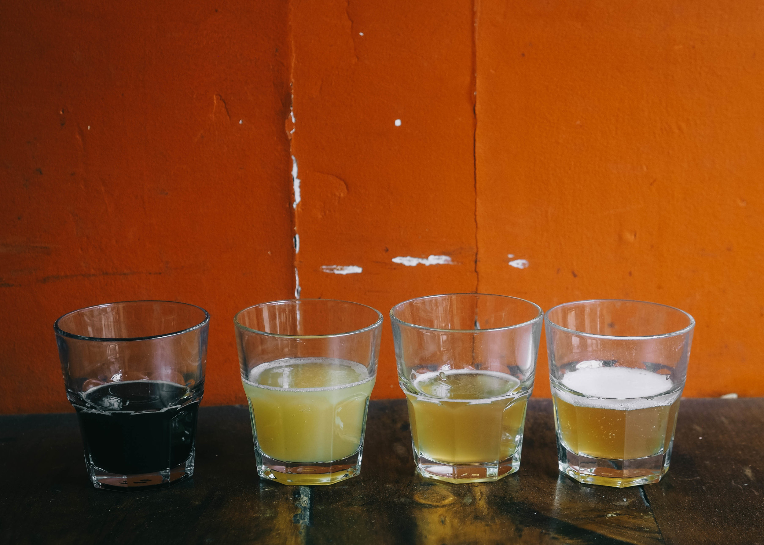 From left to right:  Granite City Brewery's Broad Axe, Bellwood Brewery's Jutsu, Folly Brewpub's Filed Day, High Road Brewery's Gose.