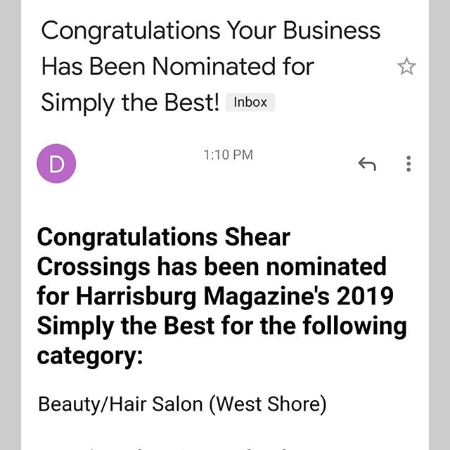 On cloud 9 just to be nominated! Thank you everyone!💁 Now we need you help once more from April 15th-June ? to go and vote for us!  A link will follow once we get more information 😊  #shearxings #centralpa #717 #centralpastylists  #mechanicsburgpastylist #mechanicsburgpa #mechanicsburgsalon  #cumberlandcounty #dillsburgpa #yorkpa #yorkpastylist #susquehannastyle #hburgmade #modernsalon #hair #licensedtocreate #phytodessus #framesiusa #camphill  @phytodessus @framesiusa @framesiofficial