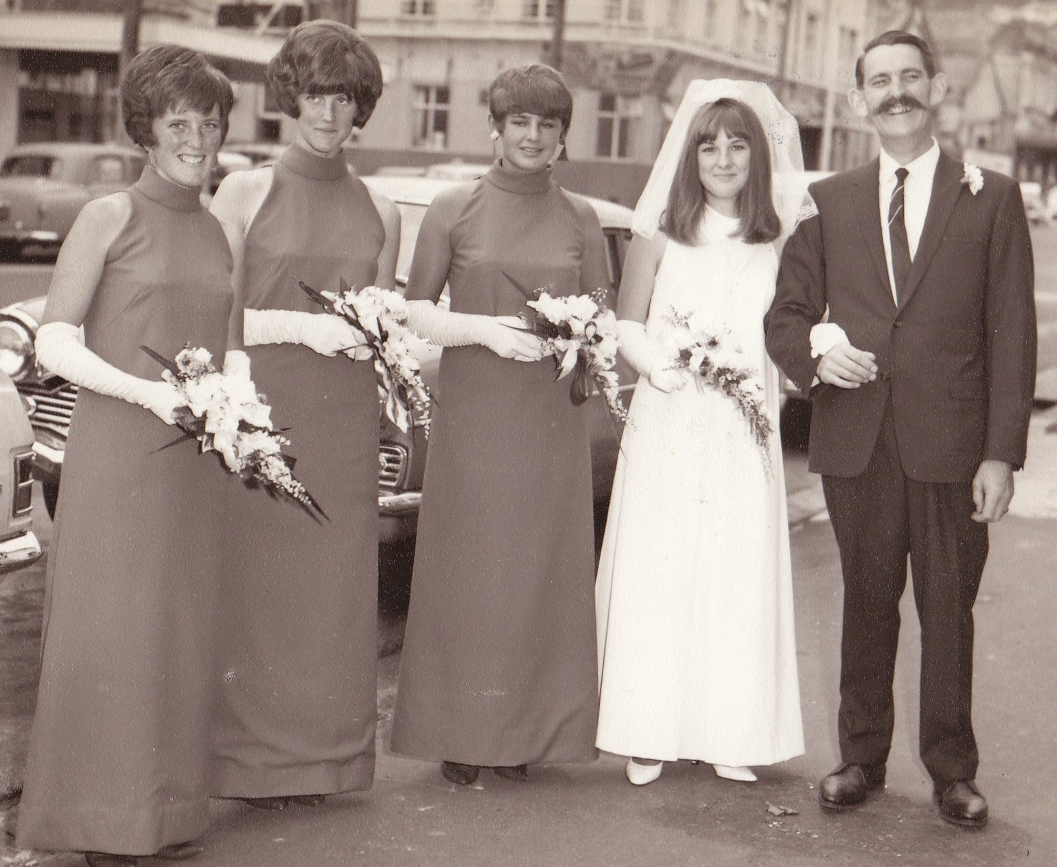 My proud Dad and Bridesmaids dressed in Green