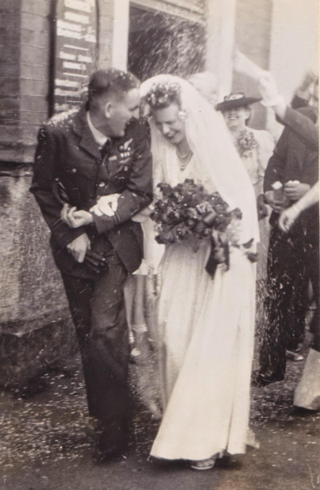 Edith and David in confetti storm in post WW2 frugal, Calvinist Dunedin